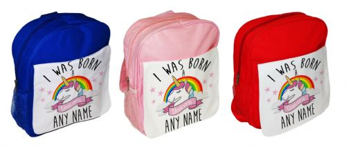 Personalised I Was Born A Unicorn Children's School Bag Rucksack Backpack
